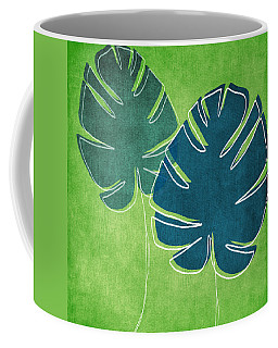 Blue And Green Palm Leaves Coffee Mug