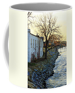 Coffee Mug featuring the photograph Blue And Yellow Morning by Viviana  Nadowski