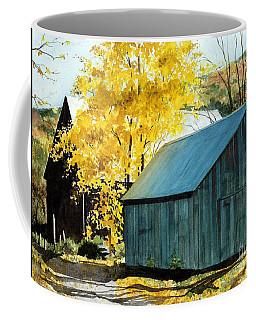 Blue Barn Coffee Mug by Barbara Jewell