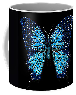 Blue Butterfly Black Background Coffee Mug