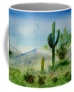 Coffee Mug featuring the painting Blue Cactus by Jamie Frier
