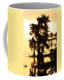 Coffee Mug featuring the photograph Blue Cypress Yellow Light by Paul Rebmann