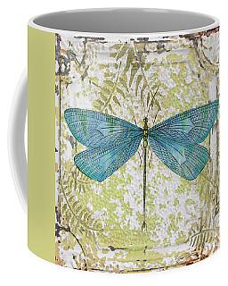 Blue Dragonfly On Vintage Tin Coffee Mug