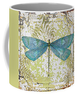 Blue Dragonfly On Vintage Tin Coffee Mug by Jean Plout