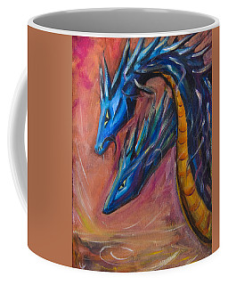 Coffee Mug featuring the painting Blue Dragons by Yulia Kazansky