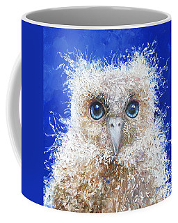 Blue Eyed Owl Painting Coffee Mug by Jan Matson