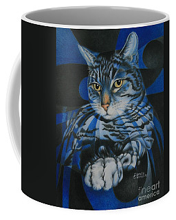 Coffee Mug featuring the painting Blue Feline Geometry by Pamela Clements