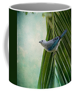 Coffee Mug featuring the photograph Blue Grey Tanager On A Palm Tree by Peggy Collins