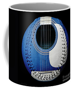Blue Guitar Baseball White Laces Square Coffee Mug