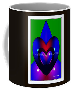 Coffee Mug featuring the painting Blue Hearts by Rafael Salazar