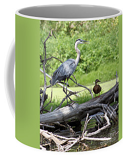 Coffee Mug featuring the photograph Blue Heron And Friend by Debbie Hart