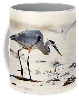 Blue Heron At The Beach Coffee Mug