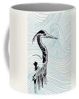 Blue Heron On Waves Coffee Mug