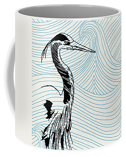 Blue Heron On Waves Coffee Mug