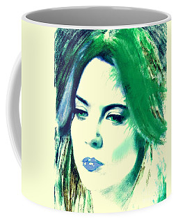 Blue Lips On Green Coffee Mug