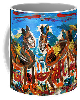 Blue Manes And Yellow Saddles Coffee Mug by Mary Carol Williams