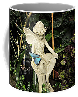 Blue Morpho On Statue Coffee Mug