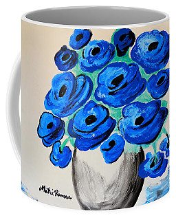 Coffee Mug featuring the painting Blue Poppies by Ramona Matei