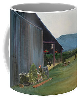Coffee Mug featuring the painting Blue Ridge Vineyard by Donna Tuten