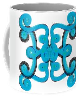 Coffee Mug featuring the digital art Blue Scroll Square by Christine Fournier