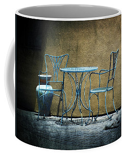 Coffee Mug featuring the photograph Blue Table And Chairs by Lucinda Walter