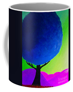 Coffee Mug featuring the painting Blue Tree by Anita Lewis