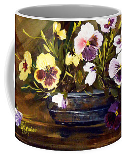 Blue Vase With Pansies Coffee Mug by Dorothy Maier