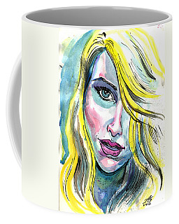 Coffee Mug featuring the mixed media Blue Water Blonde by John Ashton Golden