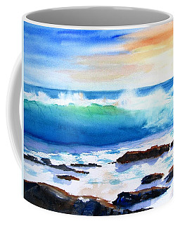 Blue Water Wave Crashing On Rocks Coffee Mug