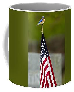 Bluebird Perched On American Flag Coffee Mug