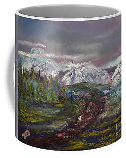 Coffee Mug featuring the painting Blurred Mountain by Jan Dappen