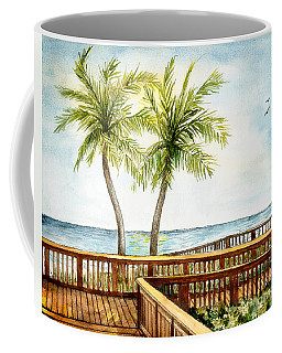 Boardwalk With Two Palms Coffee Mug