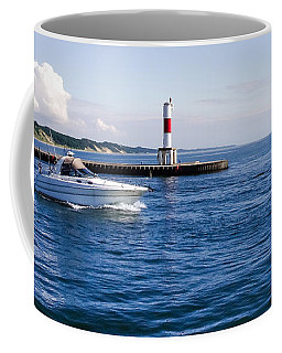 Coffee Mug featuring the photograph Boat At Holland Pier by Lars Lentz