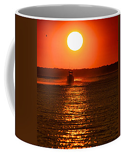 Boat At Sunset Coffee Mug