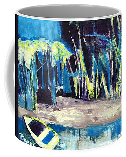Boat On Shore Line With Trees On Land Coffee Mug