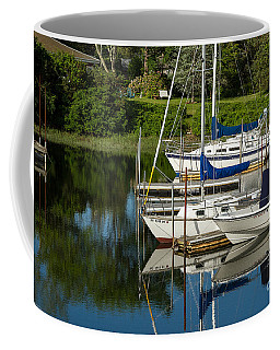 Coffee Mug featuring the photograph Boat Reflections In Cape Cod Hen Cove by Eleanor Abramson