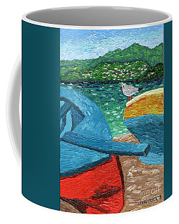 Coffee Mug featuring the painting Boats And Bird At Rest by Laura Forde