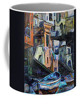 Coffee Mug featuring the painting Boats In Front Of The Buildings I  by Xueling Zou