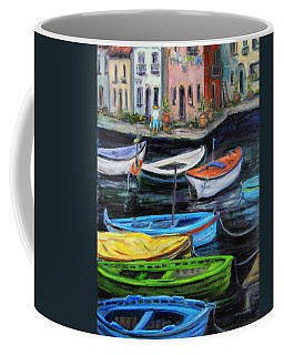 Coffee Mug featuring the painting Boats In Front Of The Buildings II by Xueling Zou