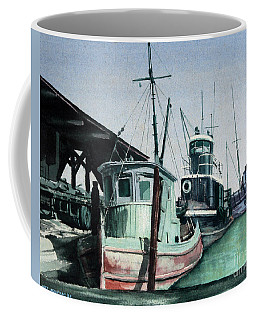 Coffee Mug featuring the painting Boats by Joey Agbayani