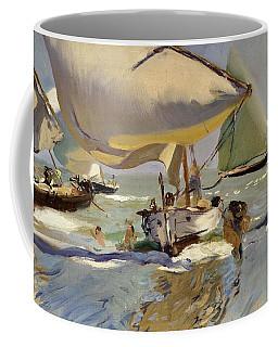 Boats On The Shore Coffee Mug by Joaquin Sorolla y Bastida