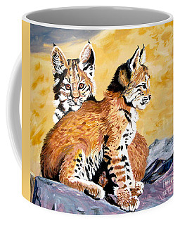 Coffee Mug featuring the painting Bob Kittens by Phyllis Kaltenbach