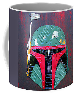 Boba Fett Star Wars Bounty Hunter Helmet Recycled License Plate Art Coffee Mug