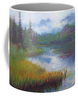 Coffee Mug featuring the painting Bonnie Lake - Alaska Misty Landscape by Talya Johnson