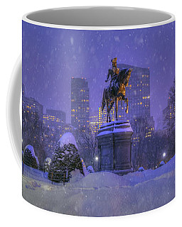 Boston Public Garden In Snow With Boston Skyline Coffee Mug by Joann Vitali