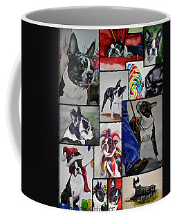 Boston Terrier Watercolor Collage Coffee Mug