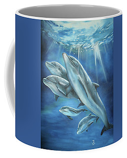 Coffee Mug featuring the painting Bottlenose Dolphins by Thomas J Herring