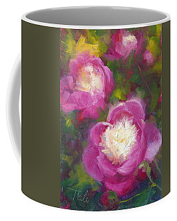 Coffee Mug featuring the painting Bowls Of Beauty - Alaskan Peonies by Talya Johnson
