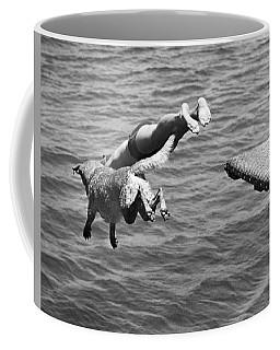 Boy And His Dog Dive Together Coffee Mug