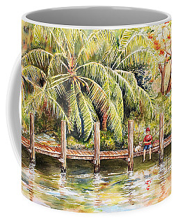 Boy Fishing With Dog Coffee Mug